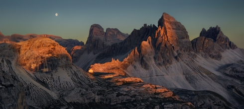 Dolomiten Alpenglühen Streiflicht Abendrot