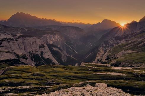 Dolomiten Drei Zinnen Höhlensteintal Sonnenuntergang