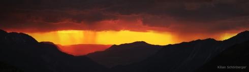 Alpen Berge Sonnenuntergang Regen