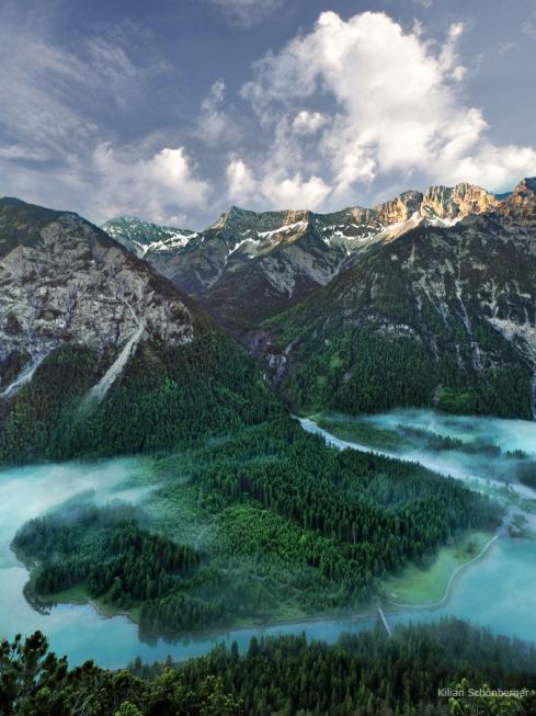 Alpen See Insel Halbinsel Nebel Wald